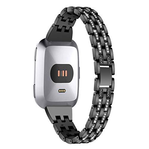 Dkings Kompatibel für fitbit versa band für frauen edelstahlbänder versa riemen mit strass diamant metall armband x-link ersatz für fitbit versa smart watch (Black) -