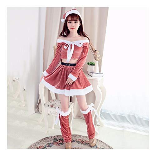 SDLRYF Weihnachtsmann Kostüm Weihnachten Kostüme Santa Claus Der Kleidung Der Erwachsenen Frauen Gold Velvet Dress Up Show Pink Kostüm