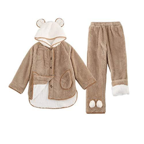 Gjfeng pigiama invernale a doppio strato in flanella di flanella da donna da casa con cappuccio pigiama caldo con bottoni (colore : brown, dimensioni : m)