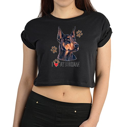 Fun Crop Top Damen-Shirt - Tiermotiv Hund Doberman Dogge - Farbe: schwarz - Goodman Design ()