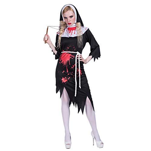 Bearbelly - Halloween Kostüm Damen Nonne Zombie Vampir Spitze Kleid Cosplay Karneval Abendkleid Verkleidungsparty Dress Up mit Kopftuch (Bilder Von Nonnen Kostüm)