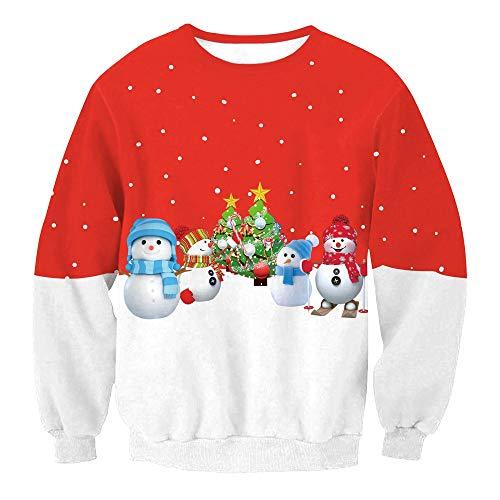 SHUAIFA Mens Womens 3D Printed Funny Ugly Christmas Sweater - Xmas Sweatshirt Crew Neck Novelty Long Sleeve Sweatshirt l004 M -