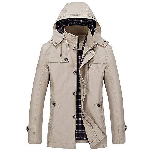 Yanhoo Herrenmode Herbst Winter Jacke Zip Knopf Parka Mantel Steppjacke Mantel Outwear Mit Abnehmbarer Kapuze