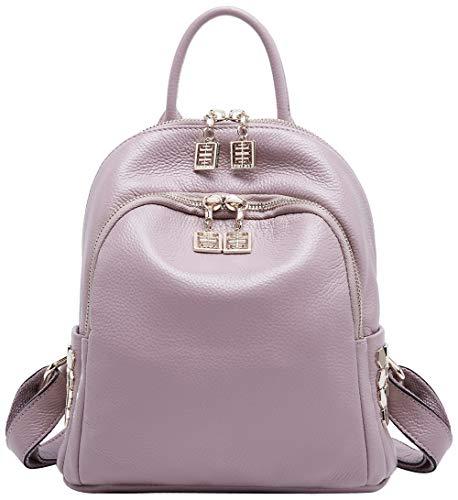 BOYATU Frauen Echtes Leder Rucksack Geldbörse Mode Mini Daypack Schultertasche Taro Pink (Nike Rucksack Damen Pink)