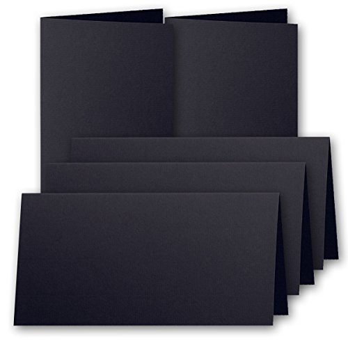 20 Schwarz-tintenstrahl (25x original ARTOZ DIN Lang Faltkarten - hochdoppelt - 220 g/m² // SERIE 1001 // Schwarz - gerippt! // 210 x 105 mm +alle Farben)