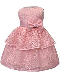 XFentech Vestido De Princesa para Bebés - Vestido Sin Mangas De Encaje  Bordado Bautizo Bebé Niña 2ff2d42789ef