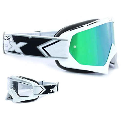 TWO-X Race Crossbrille Weiss Glas verspiegelt grün MX Brille Motocross Enduro Spiegelglas Motorradbrille Anti Scratch MX Schutzbrille
