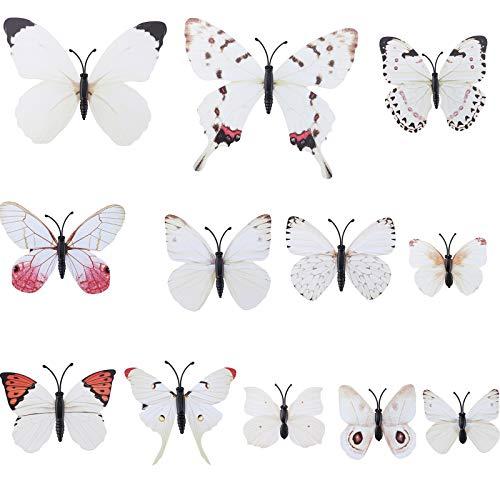 WELROG Schmetterling Haarklammer Bögen Streifen für Frauen Mädchen Braut Haarschmuck Set 12Pcs Hochzeit Party Ornament (Weiß)
