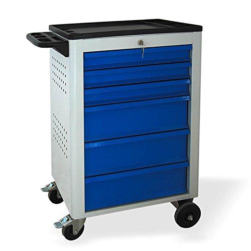 Werkstattwagen BASIC 6 Schubladen 3x80mm 3x160mm grau/blau (RAL 7035/5015)