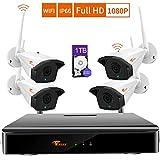CORSEE Système De Vidéosurveillance sans Fil1080P,8 Canaux NVR +4 Wifi1080P De Caméra,1To Disque Dur(1080P Full HD,Peut Ajouter Plus De Caméras,avec Fonction Audio)