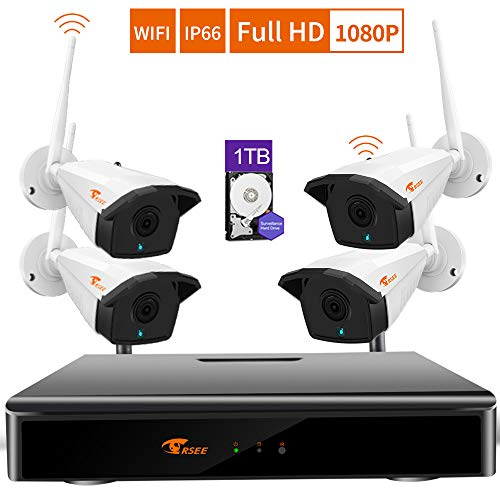 CORSEE H.265 + Kit Di Videosorveglianza Senza Fili a 8 Canali, 4 Cctv Telecamere HD 1080P. Costruito in 1TB Disco Rigido(Può Aggiungere Più Telecamere,Costruito All'interno Del Microfono)