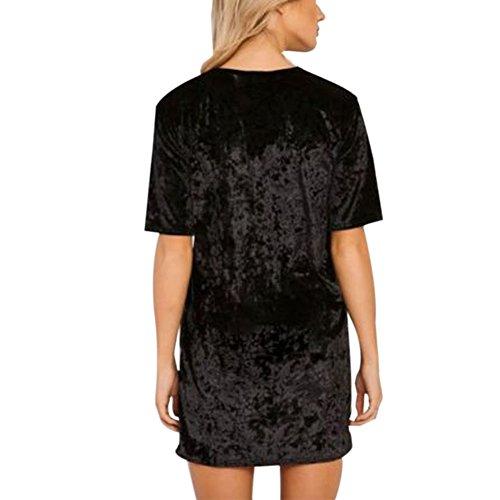 Moresave - Robe - Trapèze - Uni - Femme Noir