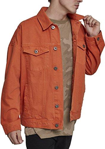 Urban Classics Oversize Garment Dye Jacket, Chaqueta Vaquera para Hombre, Naranja (Rust Orange 01150), Small