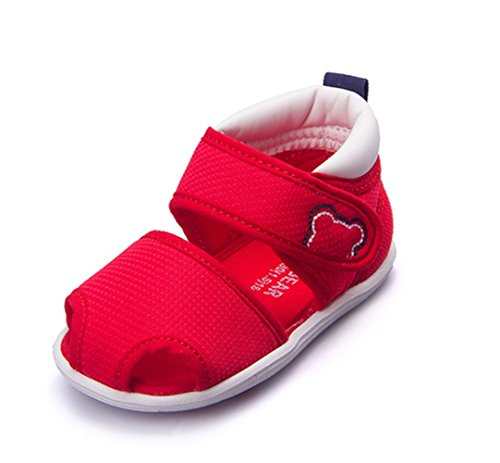 Ohmais Enfants Chaussure bebe garcon premier pas Chaussure premier pas bébé sandale en cuir souple Rouge