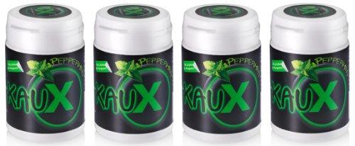 kauX Xylitol Zahnpflege-Kaugummi ohne Aspartam, 4'er Pack Peppermint (60g=40 Stück pro Dose)