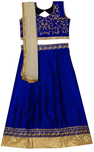 Parampara Girls Blue Semi Stitched Lehenga Choli for 8 to 12 Years Kids Girls (Blue_005PKDLC)