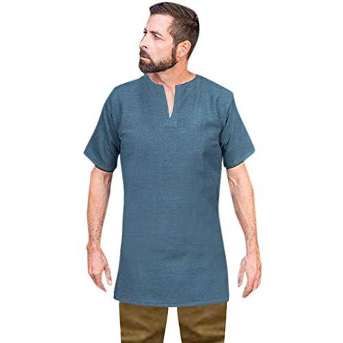 Herren Vintage Baumwolle Leinen Solide Kurzarm Retro T Shirts Tops Bluse Zolimx -