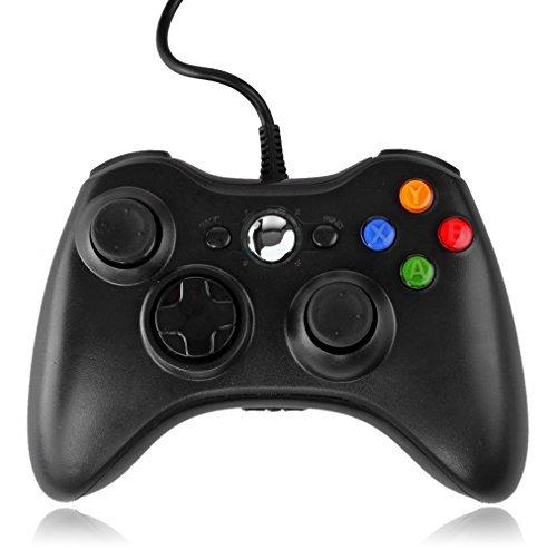 TNP Xbox 360 Controller (schwarz) USB Pad Joystick Joypad Gamepad Gamepad Controller für Xbox 360 Slim und PC Computer Laptop Windows 7 [Xbox 360]