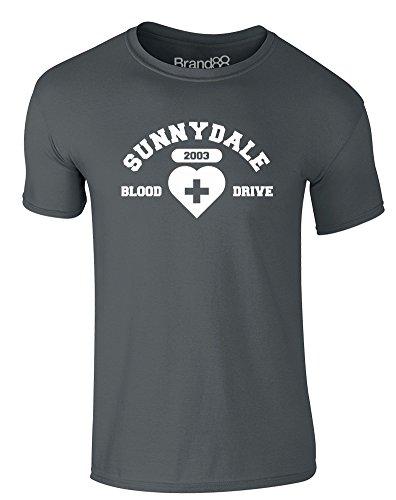 Brand88 - Blood Drive, Erwachsene Gedrucktes T-Shirt Dunkelgrau/Weiß