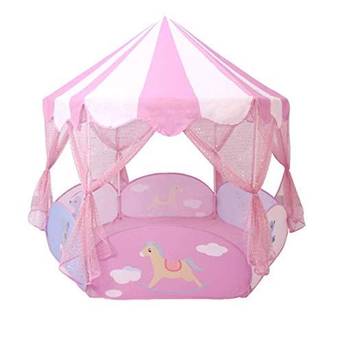 Floving Rosa Kinderzelt, Prinzessin Castle Spielzelte, Kinder großes Spielhaus Kinderspielhaus Zelte, sechseckigen Zaun Ball Pool Zelt