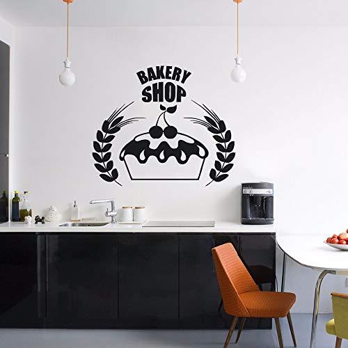 Wandaufkleber,Bäckerei Logo Wandaufkleber Dekor Küche Cafe Wand Poster Kuchen Design Wandbild Bäckerei Fenster Vinyl Aufkleber 42X35 Cm Cafe Küche Dekor