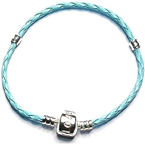 Charm Buddy 16cm para niños niñas estilo Pandora encanto pulsera de plata para Charms de piel azul joyas