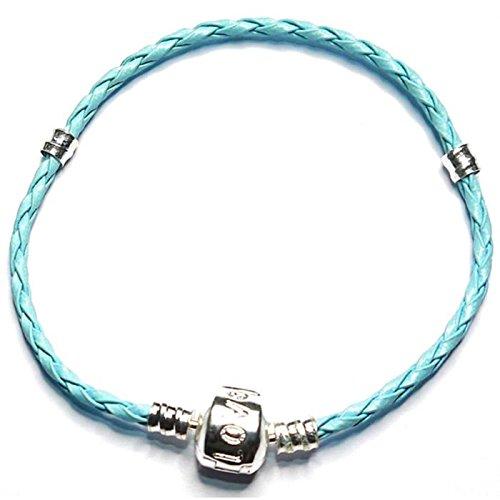 Charm Buddy Armband Für Pandora/Troll/Chamilia Beads versilbert geflochtenes Leder 22cm Blau Charm