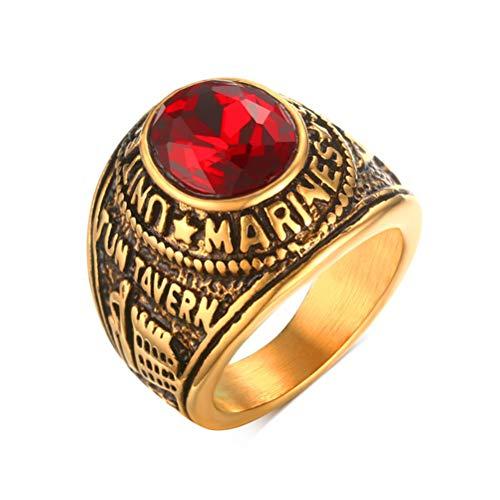 Oidea Herren-Ring Marines Verlobungsring Edelstahl Strass rot gold Größe wählbar - Herren-marine-ring