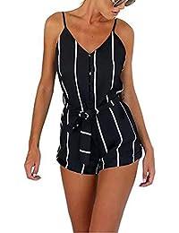 JXLOULAN Mujeres sin espalda rayada negra y blanca del verano Monos Moda tirantes a rayas del mono de los cortocircuitos de la playa