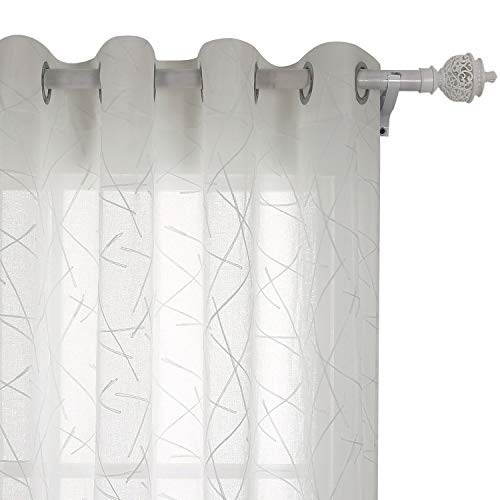 Deconovo Vorhang Voile Gardinen mit Ösen Bestickte Vorhänge Transparent 214x132 cm Creme Linie 2er Set
