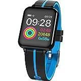 JTY Montre Connectée Smartwatch Tracker d'Activité IP67 Étanche Smartwatch Bracelet Bluetooth Podomètre avec Moniteur de Sommeil/Compteur de Calories pour Android iPhone,Blue
