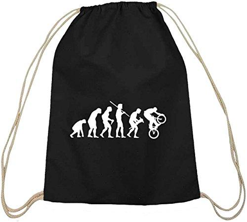 Shirtstreet24, EVOLUTION BMX, Bike Sport Baumwoll natur Turnbeutel Rucksack Sport Beutel, Größe: onesize,schwarz natur
