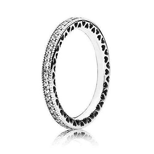 Pandora Damen-Ring Unendliche Herzen 925 Silber Zirkonia transparent Gr. 54 (17.2) - 190963CZ-54 (Kleine Herzen Ring)