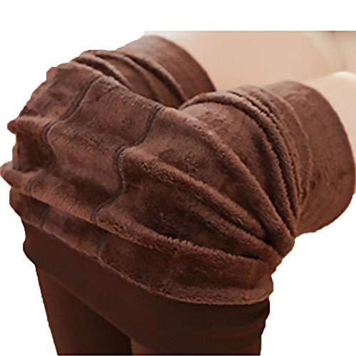 BriskyM Frauen Solide Winter Dicke Warme Fleece Gefüttert Thermische Legging Strumpfhose (Kaffee) -