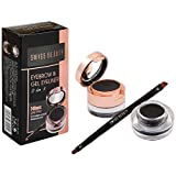 Swiss Beauty 2In1 Gel Eyeliner & Eyebrow Powder 24Hrs Smudge-Proof - Black