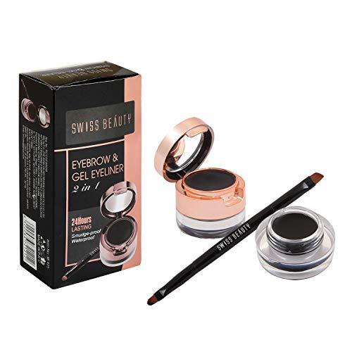 Swiss Beauty 2In1 Gel Eyeliner & Eyebrow Powder 24Hrs Smudge-Proof - Black