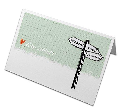 50 Tischkarten aus Recyclingpapier | Namenskarten, Platzkarten zum beschriften, klimaneutral | Hochzeit, Geburtstag, Familienfeier, Jubiläum | Trinken! Essen! Quatschen! Grün | Schild Design in Lindgrün (Geburtstag Essen)