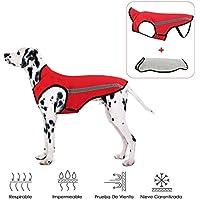 SlowTon Abrigos para Perros de Invierno Chaqueta Impermeable Ropa para Perros Forro de Franela Desmontable Cuello Ajustable Chaleco del tamaño Pecho para Mascotas con Regalos de la Navidad