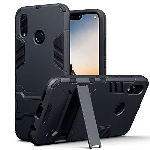 TERRAPIN, Kompatibel mit Huawei P20 Lite Hülle, Silikon + Polycarbonat Tasche mit Standfunktion - Schwarz