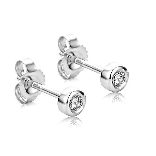 Orovi Ohrstecker Ohrringe Set ,Damen Weißgold Ohrstecker mit Diamant 9Karat (375) Brillanten 0.10crt
