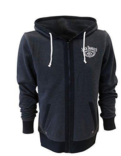 Jack Daniels Hoodies (Jack Daniel's Old No.7 Hoodie Full Length Front Zipper Casual Kapuze - Grau - Grau, S)