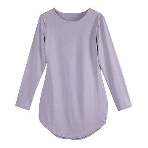 LAEMILIA Femmes T-shirt Hauts Uni Manches Longues Col Rond Automne Printemps Robe Mini Moulante Gris