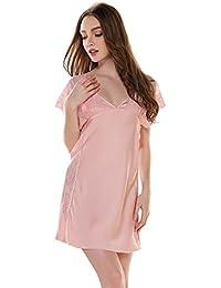 Airtalk Mujer Pijama Chemise Camisón de Seda Transparente con Encaje Hueco Escote V Camisola Ropa de Dormir Lencería Talla M/L/XL 2 Colores a Elegir
