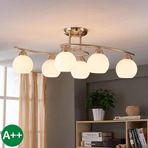 Lampenwelt Deckenlampe 'Svean' dimmbar (Modern) in Weiß aus Glas u.a. für Wohnzimmer & Esszimmer (6 flammig, E14, A++) - Deckenleuchte, Lampe, Wohnzimmerlampe -
