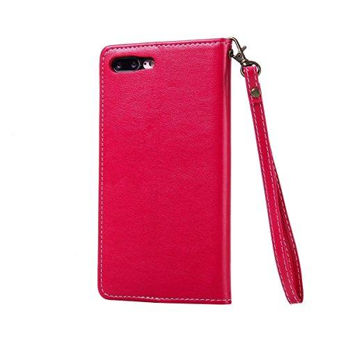 Apple iPhone 7 plus Coque Rabat,Coque de Protection pour iPhone 7 plus with Lanyard,Ekakashop Jolie Dessin Rétro Fleur imprimée Portable Coque de Protection Magnétique Cas Couverture avec Emplacements Rouge