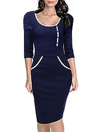 Miusol® Damen Kleid Mit U-Ausschnitt Asymmetrische Einreiher Ballkleid Moderner Schnitt Abendkleid, Schwarz Gr.S-XXL