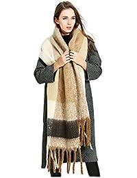 d7096c3736c6 Femme Fille Couleur de Contraste Tartan carreaux plaid Extra Longue Très  Épais Écharpe Wrap Châles Etole