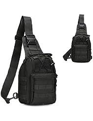 tekon Correa de Tactical Assault Pequeño Ligero Sling Molle Mochila Militar Deporte Pack Bolsa de hombro Pecho Rover, negro