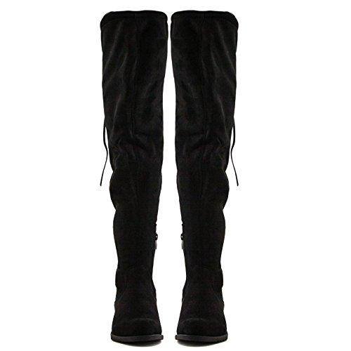Toocool - Scarpe donna stivali stivaletti elastici tacco basso eco camoscio nuovi YY6510 Nero
