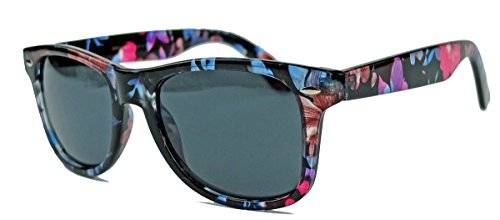 Klassische Retro Sonnenbrille im Wayfarer Stil mit Blumenmuster WFS (blau braun pink)